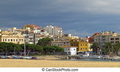 Landscape of small town, Palamos, in Costa Brava of Spain