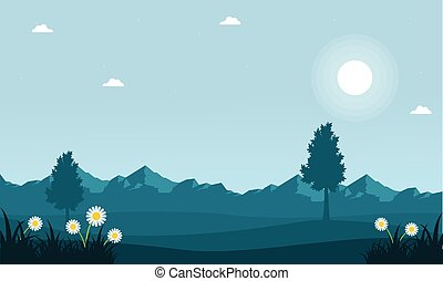 Landscape of spring with mountain background