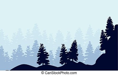 Landscape of spruce forest silhouettes
