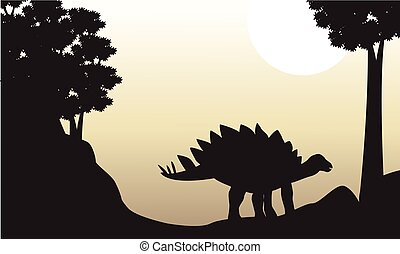 Landscape of stegosaurus silhouettes on the hill