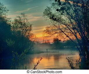 Landscape of sunrise over the river