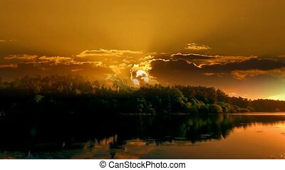 landscape of sunset on a river.