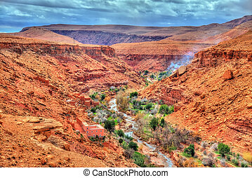 Landscape of the Asif Ounila valley in the High Atlas Mountains, Morocco
