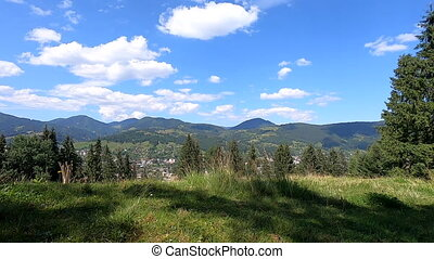 Panoramic view of the village in the mountains on a summer sunny day