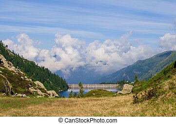 landscape of the dam in the Alps