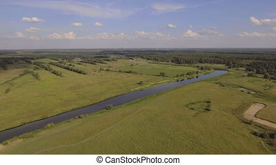 Landscape of the field, river.Aerial View. - Landscape with...