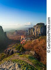Holy Monastery of Rousanou in Meteora mountains - Landscape...