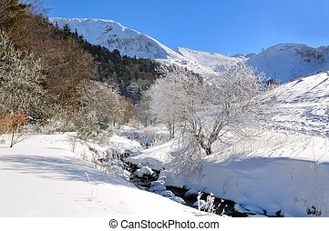 river flowing through snow-covered mountains in a beautiful white sky