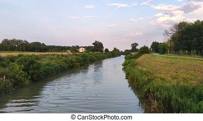 Landscape of the Po valley with river in Sant'Appollinare, Italy