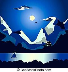 Landscape of the sea at night idyllic
