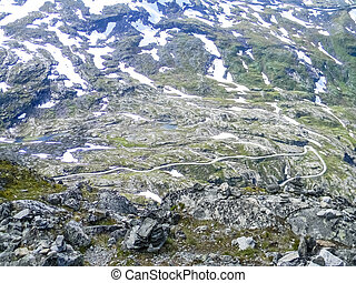 Landscape of the snowy Dalsnibba Mount in Norway