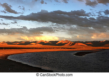 Landscape of Tibetan lakes at sunset