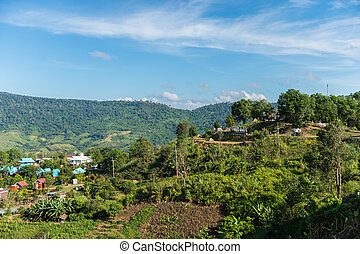 Landscape of town on the mountain