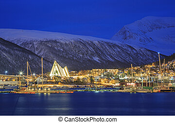Tromso Cityscape at dusk - Landscape of Tromso Cityscape at ...