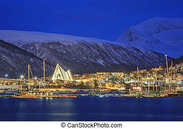 Tromso Cityscape at dusk - Landscape of Tromso Cityscape at...
