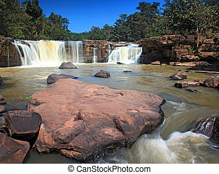 landscape of Tropical Tadtone waterfall in rain forest in Chaiyaphum North east of Thaland