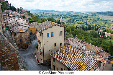 Landscape of Tuscany from the walls of Montepulciano hill town, Toscana Italy Europe