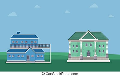 Landscape of two house on blue sky