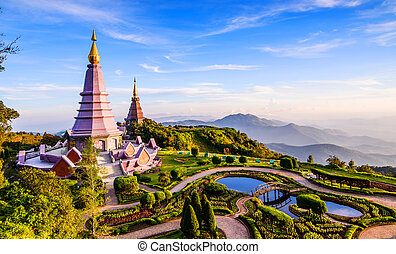Landscape of two pagoda on the top of Inthanon mountain, Chiang
