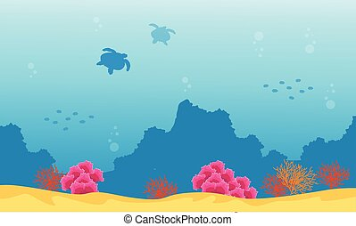 Landscape Of Underwater Reef And Turtle