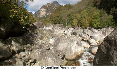Landscape of Valle Verzasca in Swiss alps. Picturesque...