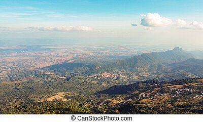 Landscape of Village on beautiful and famous travel location at Phu Tub Berk viewpoint in Phetchabun province Thailand.