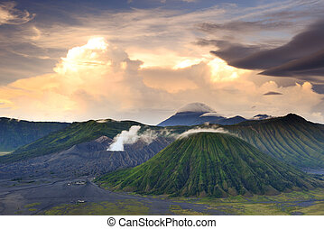 landscape of Volcanoes in Bromo mountain, Indonesia - ...