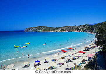 Landscape of Voulisma beach Crete Greece