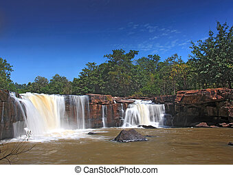 landscape of waterfall Tadtone in climate forest of Thailand
