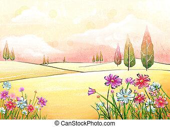 landscape of wild flowers