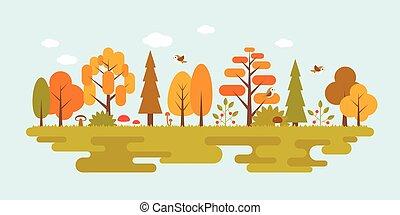 landscape of wild in autumn season, flat design vector