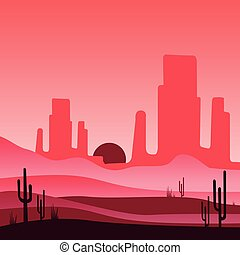 Landscape of wild western desert with rocky mountains and cactus plants. Vector design in gradient colors