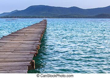 Landscape of Wooded bridge pier