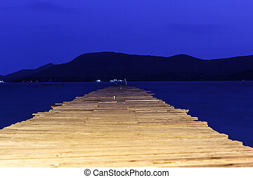 Landscape of Wooded bridge pier