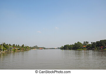 Landscape of wooden houses in Amphawa. the most famous ...