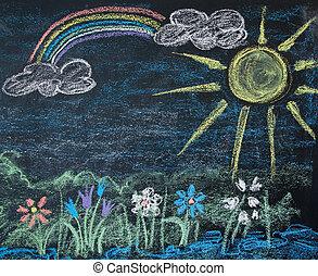 landscape on a blackboard