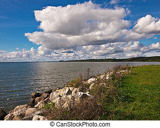 Landscape on a lake.