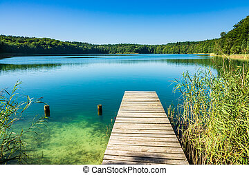 Landscape on a lake with trees and blue sky