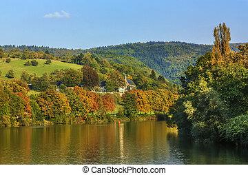 Landscape on Neckar river, Germany