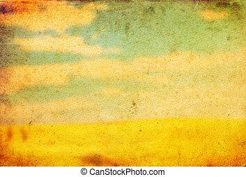 Landscape on old vintage grunge paper