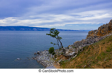 Landscape on small sea of Baikal lake - Evening view with...