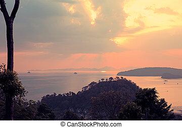 landscape on sunset seaside
