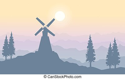 Landscape on the hill with windmill