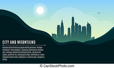 Landscape on the mountains and a big morning city. In the sky the airplane is flying. A place for your projects. Vector illustration in a flat style