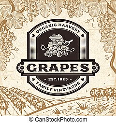 landscape, oogsten, retro, druiven, etiket