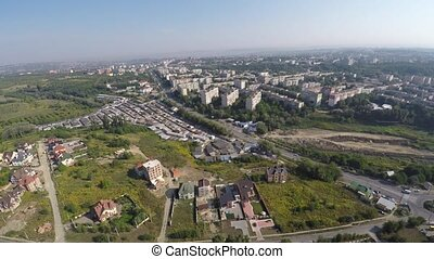 landscape outskirts of the town. drone view.