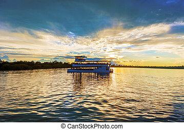 Landscape over Zambezi river - Picturesque sunset landscape...