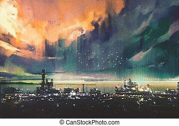 landscape painting of sci-f - landscape digital painting of...