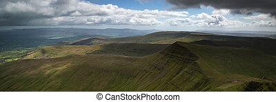 Landscape panorama of Cribyn summit from Pen-y-Fan mountain in B