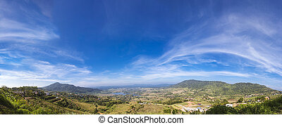 Landscape panorama of Mountains Park and blue sky
